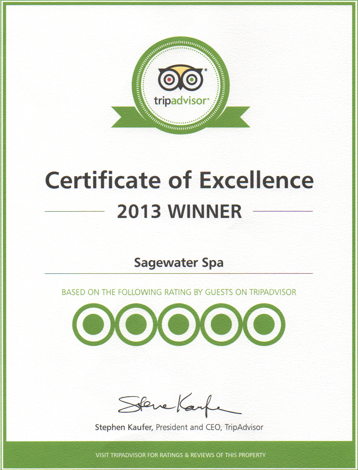 Sagewater spa a personalized luxury experience tripadvisor tripadvisor awards sagewater spa 2013 certificate of excellence xflitez Images